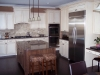 Painted Kitchen With Glaze Dark Maple Island